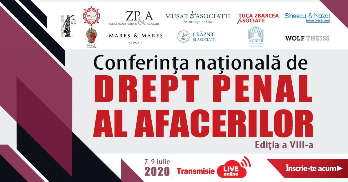 Conferința națională de Drept Penal al Afacerilor, ediția a VIII-a, ON-LINE
