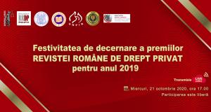 """[CUM A FOST] Festivitatea de decernare a premiilor """"Revistei Române de Drept Privat"""" pentru anul 2019"""