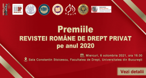 """Festivitatea de decernare a premiilor """"Revistei Române de Drept Privat"""" pentru anul 2020"""